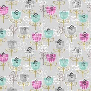 Dashwood Studios - Petite Street Flowers Grey - cotton fabric