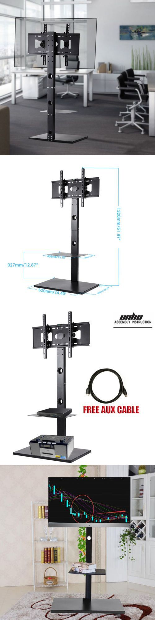 TV Mounts and Brackets: Heavy Duty Swivel Floor Stand Tv Mount And2 Shelves For 40 50 60 65 Height Adjust -> BUY IT NOW ONLY: $69.92 on eBay!
