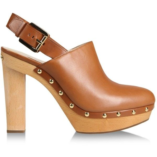 Michael Michael Kors Beatrice Leather Slingback Clog (405 BRL) ❤ liked on Polyvore featuring shoes, clogs, heels, footwear, brown, heeled clogs, clog shoes, brown clogs, wooden platform shoes and studded clogs