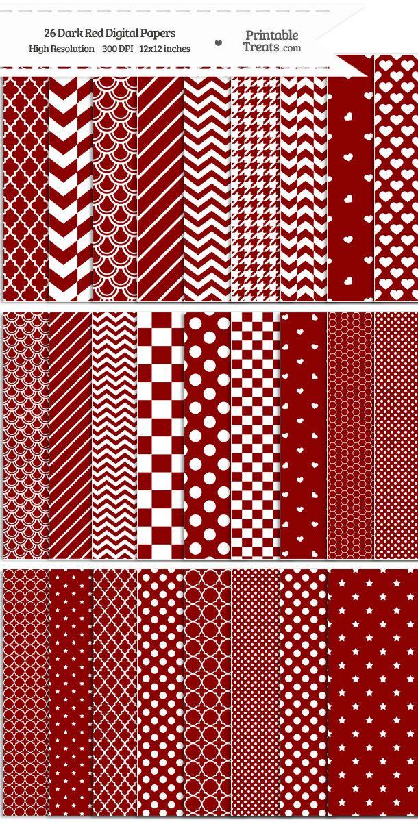 26 Dark Red Digital Paper Set Download from PrintableTreats.com