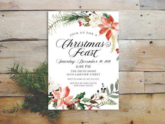 Christmas Feast Invitation Printable, Rustic Berry Holiday