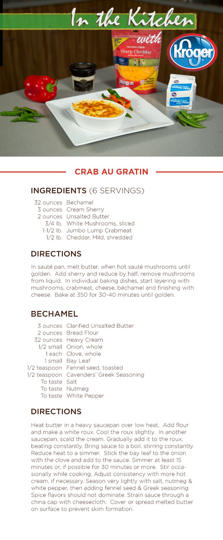 34 best in the kitchen with kroger images on pinterest cooking learn how to make crab au gratin on this weeks in the kitchen with kroger aquawatchcareerveggie recipeswebsitegratincooking forumfinder Choice Image