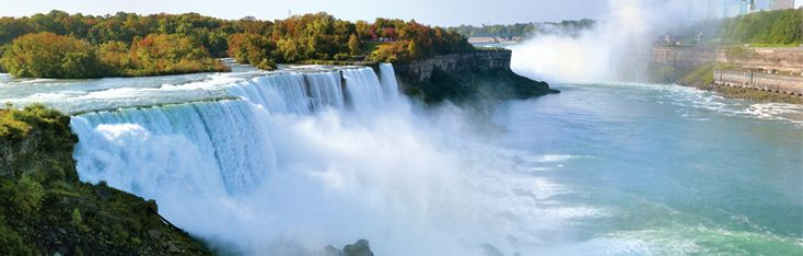 Niagara Falls sits on the border of Canada and the USA. The climate is relatively mild, although there can be snow in winter. The falls also serve as a major source of electricity for the state of Onatrio.