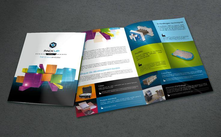 Adaptation de l'identité visuelle sur la plaquette commerciale de la société Pack UP #identity #logo #design #print #grafics