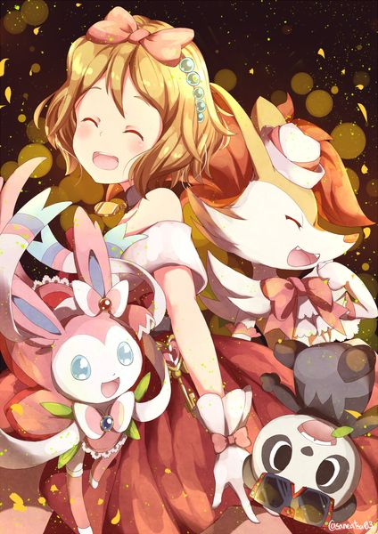 Serena with all of her Pokémon