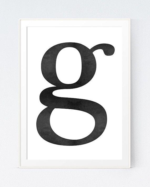 G Letter Print Initial Wall Art Scandinavian Art by SutilDesigns