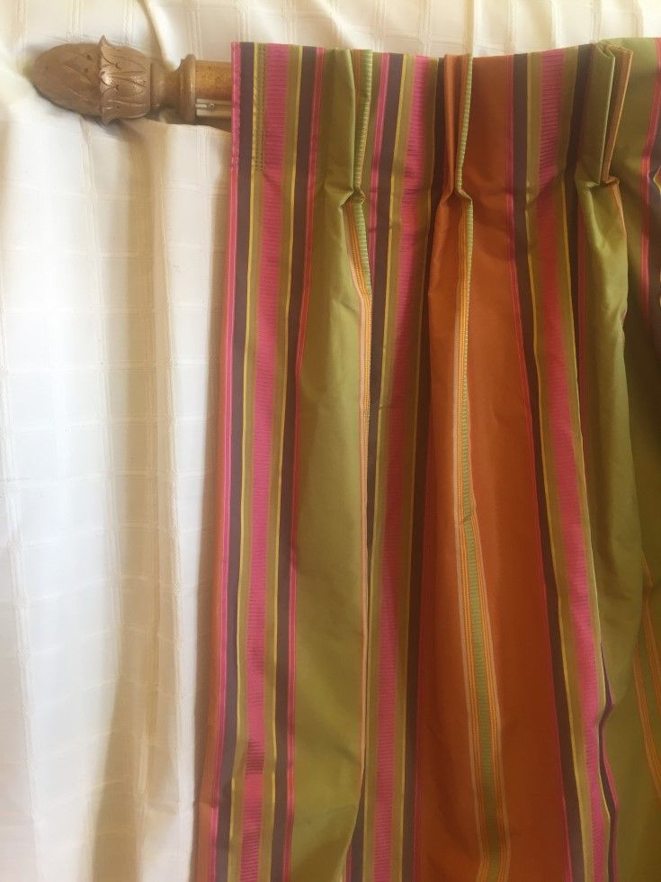 Glam Stripes. Three curtains available in this amazing silk like fabric. They measure 240 cms long with two covering a track of 390 cms and the single one a track of 238 cms. Priced at a very reasonable $1150.00 for the set.
