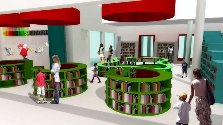 Designer Y Tsai has conceptualised a new interior for the Belville Children's Library that strikes a balance between space for books and space for reading. This image shows a view of the toddler zone through the circular entrance bookshelves. Image: Y Tsai Design.
