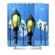 Lamp posts by Navin Seeing things differently  Shower Curtain by NAVIN JOSHI