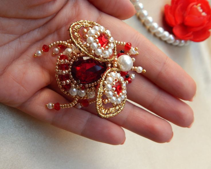 Brooch fly  Jewelry fly  Brooch insect Jewelry handmade Jewelry insect Red brooch by jewelryshopbyElen on Etsy