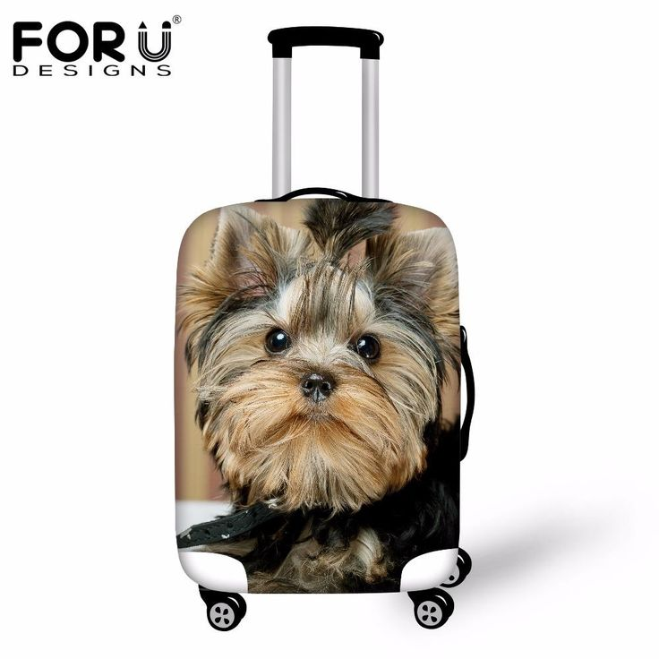FORUDESIGNS Thick Elastic Luggage Suitcase Cover Apply To 18-30 Inch Cases 3D yorkies Dog Trolley Case Covers Travel Acessories