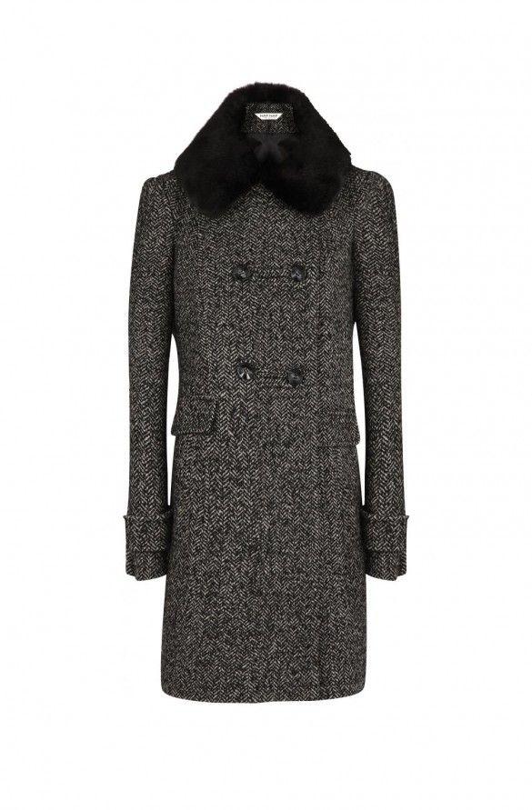 Manteau fantaisie col fausse fourrure  fantaisie - droits femme - naf naf 1