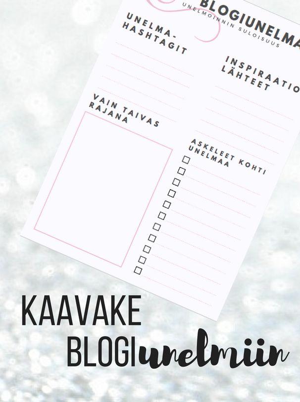 Kivempi blogi: Blogi ja unelmat. Ilmainen printable