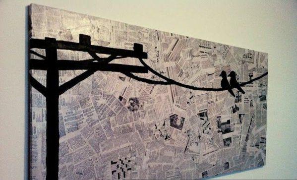 diy moderne Leinwandbilder draht vögel zeitungen