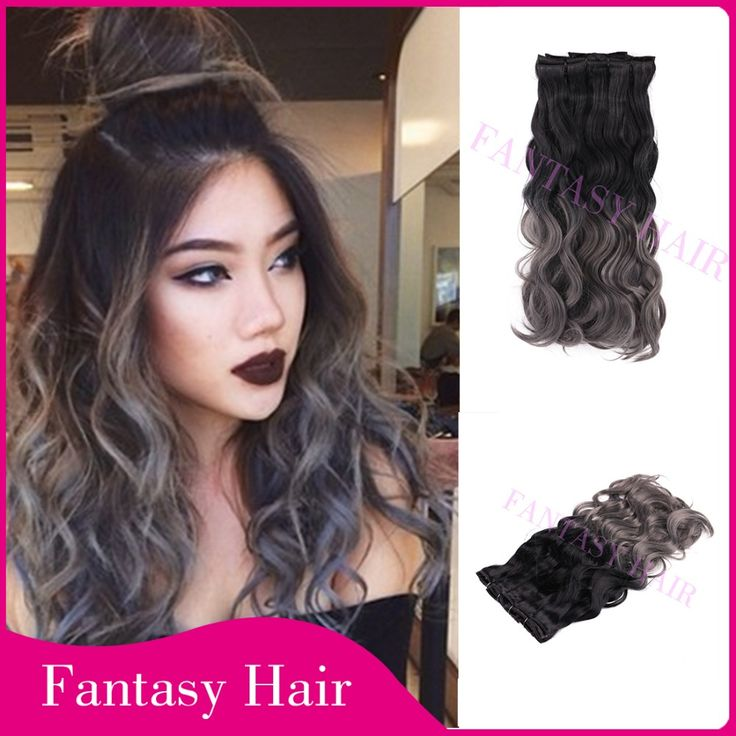 Clip Curly Hair On Sale At Reasonable Prices Buy Black And Grey Ombre Brazilian Synthetic Body Wave Full Head In Extensions Weave Heat