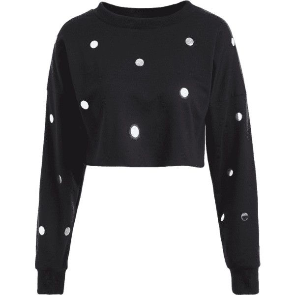 Metallic Dots Raw Hem Cropped Sweatshirt ($18) ❤ liked on Polyvore featuring tops, hoodies, sweatshirts, cut-out crop tops, dot top, crop tops, metallic top and polka dot crop top