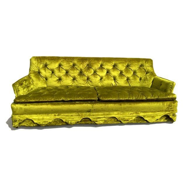 Image of Chartreuse Velvet Tufted Sofa