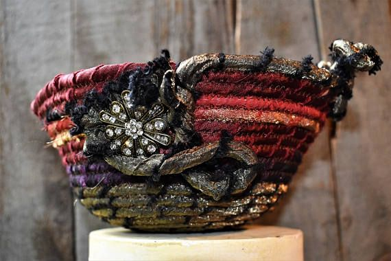 Jewel Tone Fabric Basket Rust Gold Green Purple Boho