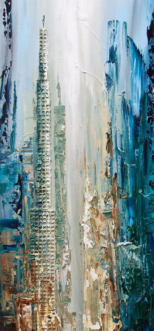 ABSTRACT ART – Large City Abstract Painting , Blue City Painting on Canvas , Textured Abstract by Osnat – 60″x30″