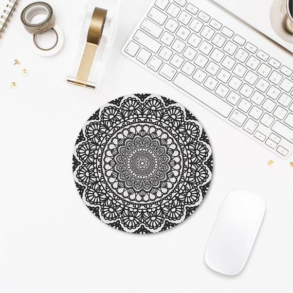 Mandala Mousepad, Geometric Mouse Pad, Computer Gifts, Black Mouse Pad, Printed Mouse Pad, Office Supplies, Desk Decor