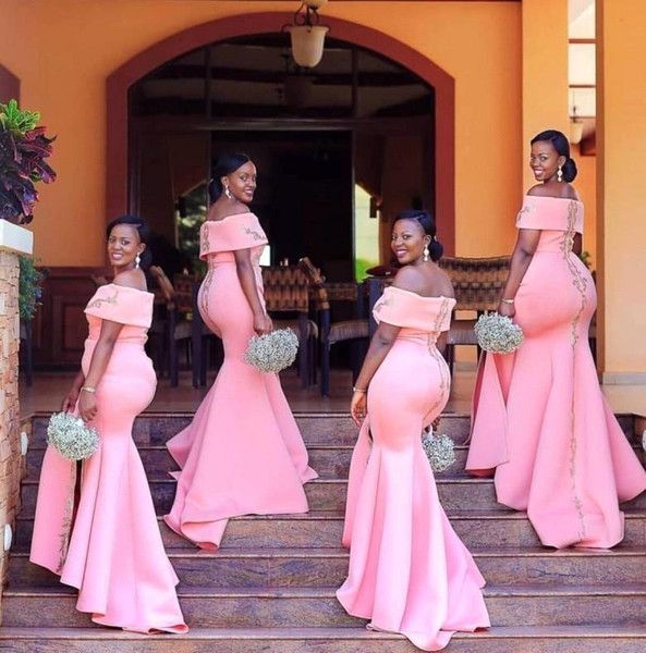 Cheap Coral Mermaid Bridesmaid Dresses Half Sleeves Sheer Bateau Neck Long  Bridesmaid Gowns For Black Girls Wedding Party Gowns Bridesmaid Dresses Red  ... ad6784100801