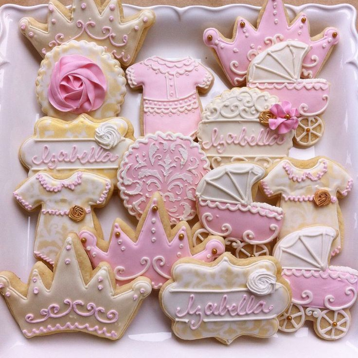 Light pink and gold baby shower cookies