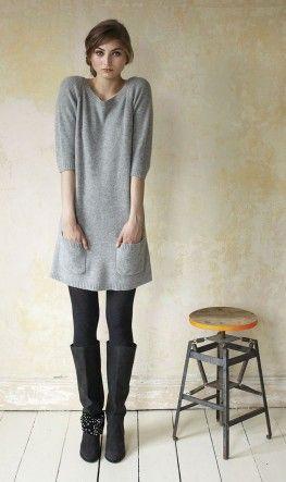 Simple & elegant: Sweat Dresses, Simple Winter Tunics, Dresses Boots, Fashion Style, Black Boots, Gray Sweaters, Gray Boots And Legs, Grey Sweaters Dresses Outfits, Autumn Winter Fashion Dresses