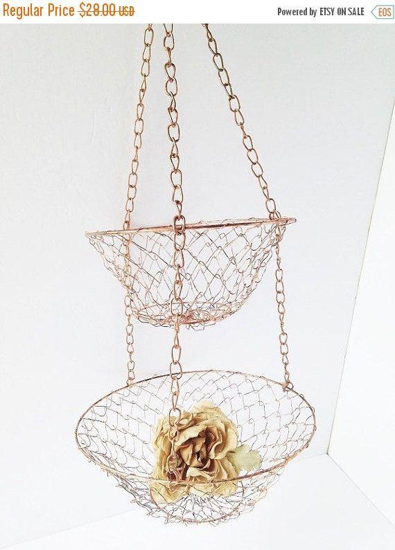 on sale copper kitchen hanging basketsaandsvintageshop
