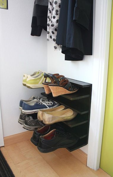 How-To: Small Space Shoe Rack #organization #shoes