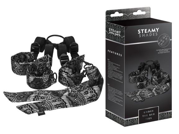 Full-body restraint system, a center strap connects restraints, adjustable to fit any size bed, D-ring connectors allow for easy set-up, tucks easily under any mattress, elegant sheer black lace overlay on lustrous grey fabric, sensual soft satin ties.