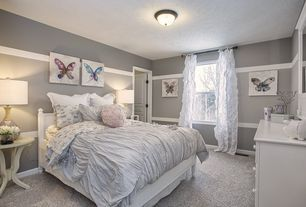 """Traditional Kids Bedroom with High ceiling, Carpet, flush light, Bronze Ring 11"""" Wide Ceiling Light Fixture"""