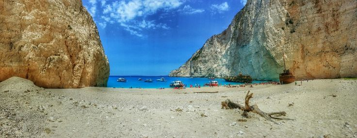 Panoramic view of Shipwreck Cove on Zakynthos island Greece  Photography by Alistair Ford