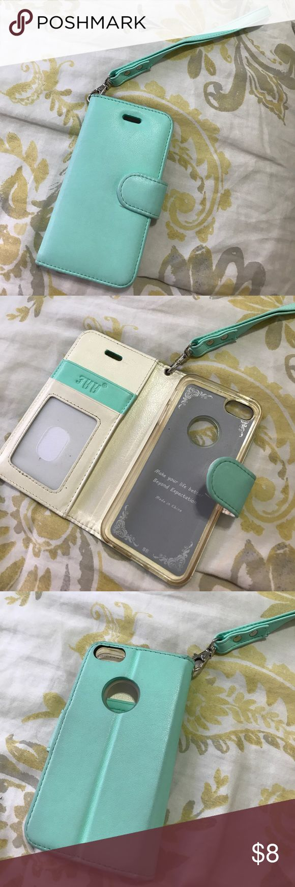 iPhone 5SE Wristlet wallet case Mint color, I only had this case for a month, then I upgraded my phone and I no longer have a use for it. In great condition! Has minor rips as shown on picture. Open to offers. It folds so you can binge watch on Netflix or another app. Accessories Phone Cases