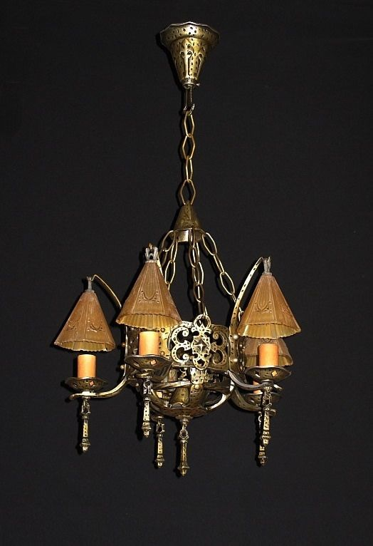 1930s vintage 5 smoke bell fixture in the revival and arts u0026 crafts style this - Antique Light Fixtures