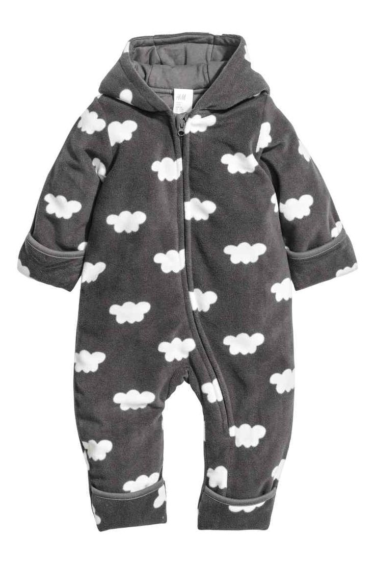 Padded fleece all-in-one suit: Lightly padded all-in-one suit in soft, patterned…
