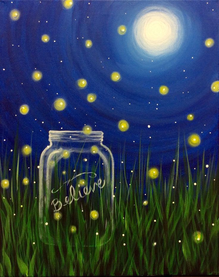 Easy Sip And Paint Pictures : paint, pictures, Canvas, Painting, Ideas, Firefly, Painting,, Night