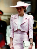 Princess Diana Receives the Freedom of Northampton Wears Pink Suit June 1989 Fotografisk tryk