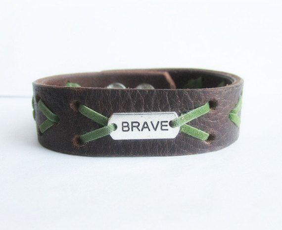 Men's leather cuff men's leather bracelet men by Bravemenjewelry