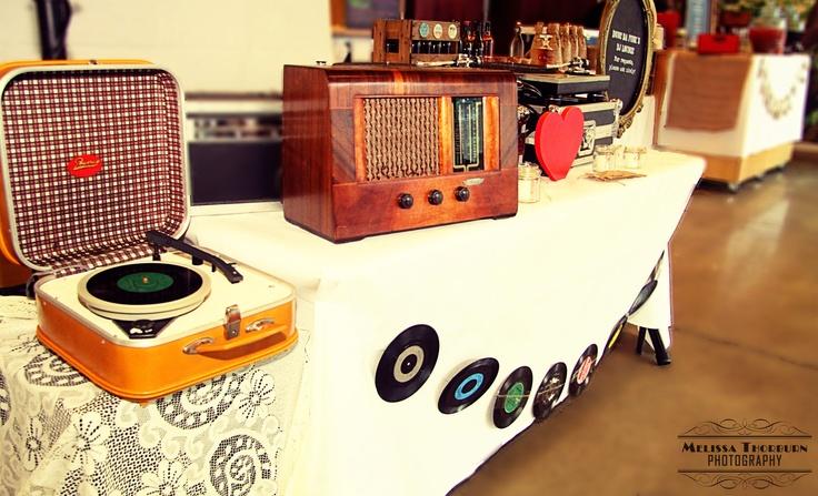 A Vintage & Pretty retrospective DJ.  Props: Poweray mustard turntable, 1940s Valve radio & 45s www.vintageandpretty.co.nz  Venue: Zealandia, Karori, Wellington  Photographer: www.melissathorburnphotographer.co.nz