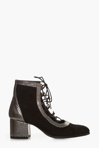 Pantofi negri cu snur din piele intoarsa 1805 -  Ama Fashion