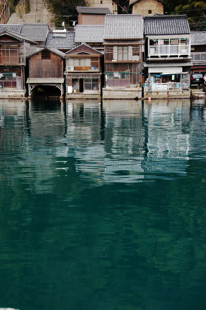 """Funaya"" - houses built on the water's edge with a garage like space for boat mooring beneath, Ine-cho, Kyoto, Japan"