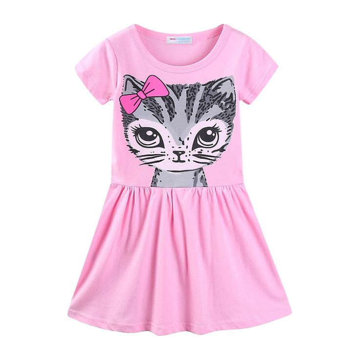"""Mud Kingdom Little Girls Dresses Cotton Cartoon Cat Dresses Summer Pink 5T. Colorfast and cozy feel. Easy care, machine washable. For Summer. Adorable Design, Comfortable Fabric and Much More Beautiful Than Pictures, Kids Will Like It As Gift. Please Read """"Size Specification"""" In """"Product Description"""" To Make Sure The Size You Choose Fits As Expected."""