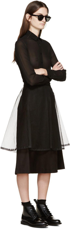 Noir Kei Ninomiya Jupe en tulle noire superposée