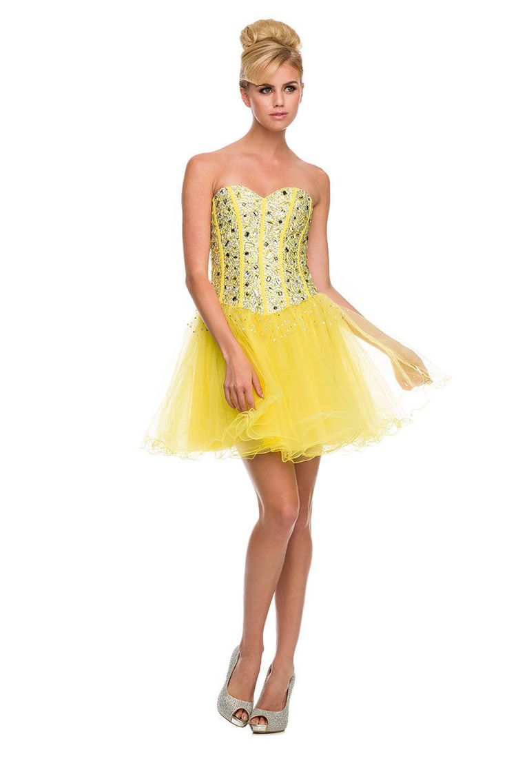 Sparkling Gorgeous Short Yellow Strapless Homecoming Dress