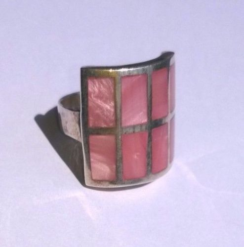 STERLING-SILVER-Pink-Mother-of-Pearl-Ring-silver-500-size-7-5