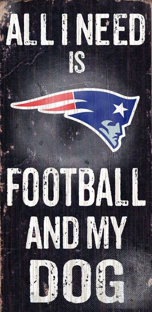 New England Patriots Sign Wood 6x12 Football and Dog Design