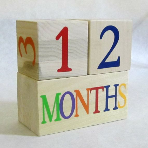 Natural Wooden Baby Age Blocks - Photo Prop - 0 - 43 Weeks, Months, Years and Grade