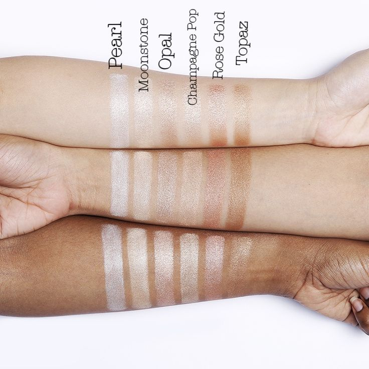 Becca Hill Shimmering Skin Perfectors Pressed Powder Highlighter swatches in Pearl, Moonstone, Opal, Champagne Pop, Rose Gold, and Road