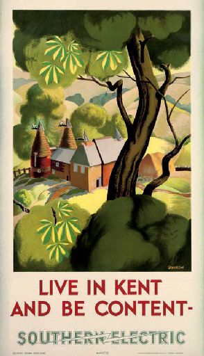 Vintage Railway Travel Poster - Live in Kent and be content - by Clodagh Sparrow - 1937.