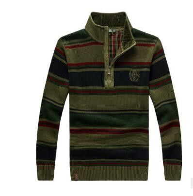 2017 The new AFS JEEP Men's Sweater Men's Pullover Sweater Collar Striped Long-Sleeved Loose And Comfortable Top 138